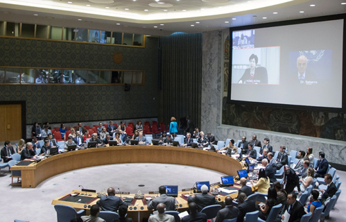 View of the Security Council meeting on the global response to the Ebola outbreak in West Africa. UN Photo/R. Bajornas