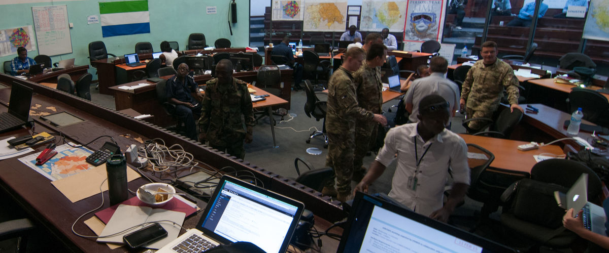 National Ebola Response Centre (NERC) Situation Room in Sierra Leone